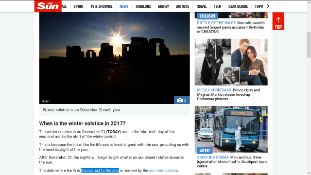 Sun wrong about summer solstice
