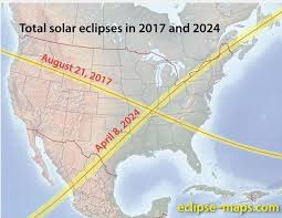 Solar eclipse crossover 2017 and 2024